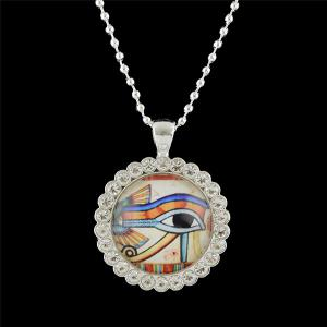 Rhinestoned Eye Round Pendant Necklace - White