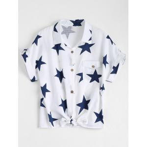 Pocket Star Print Front Tie Shirt - White - Xl