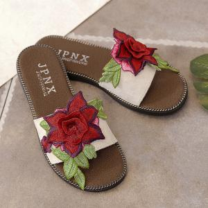 Flat Heel Embroidering Flower Slippers - WHITE 38