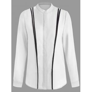 Two Tone Button Up Foamal Work Shirt - White - S