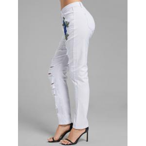 Floral Embroidered Applique Ripped Denim Pants - WHITE M