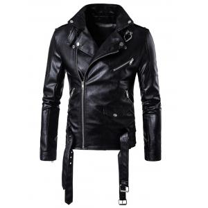 Belted Asymmetrical Zip Up Biker Jacket -