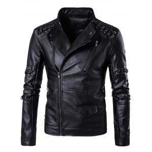 Sennit Design Asymmetrical Zip Biker Jacket