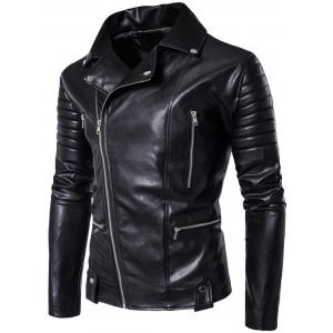 Multi Pockets Asymmetrical Zip Up Biker Jacket -