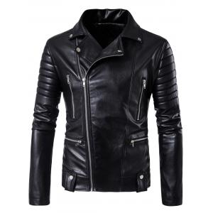 Multi Pockets Asymmetrical Zip Up Biker Jacket