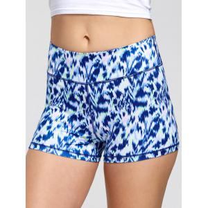 Sports Tie Dye Print Mini Leggings Shorts - Bleu XL