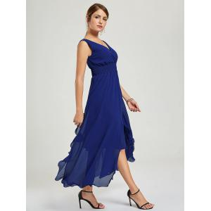 Empire Waist Chiffon Dress - Bleu Foncu00e9 XL