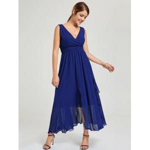Empire Waist Chiffon Evening Dress - DEEP BLUE M
