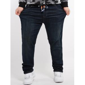 Pocket Letter Print Plus Size Jeans