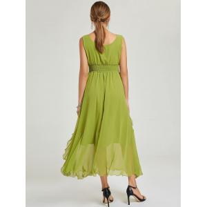Empire Waist Chiffon Dress - Vert M