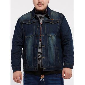 Front Pocket Design Plus Size Denim Jacket