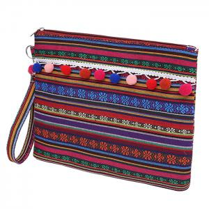 Tribal Canvas Clutch Bag - PURPLE RED