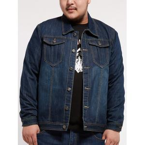 Turndown Collar Multi Pocket Plus Size Denim Jacket