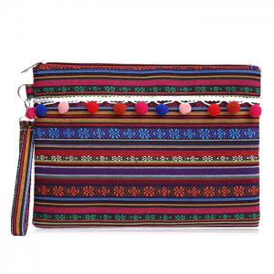 Tribal Canvas Clutch Bag - Purple Red - 38
