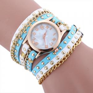 Chain Studed Faux Leather Bracelet Quartz Watch - Blue And White