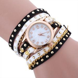 Chain Studed Faux Leather Bracelet Quartz Watch - Black White
