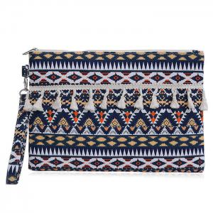 Tribal Canvas Clutch Bag - Dark Blue