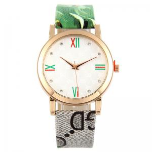 Flower Print Faux Leather Strap Analog Watch - Green
