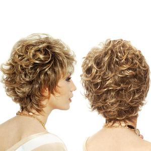 Short Side Bang Colormix Fluffy Layered Curly Synthetic Wig