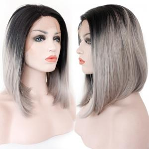 Medium Colormix Side Part Straight Bob Lace Front Synthetic Wig - Black And Grey