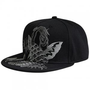 Fancy Carp Embroidered Flat Brim Baseball Hat - Black