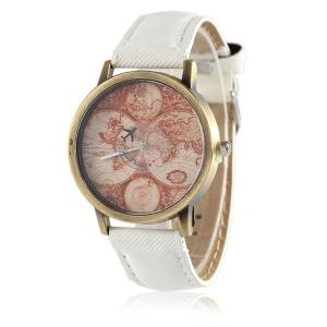 World Map Airplane Faux Leather Strap Watch - White