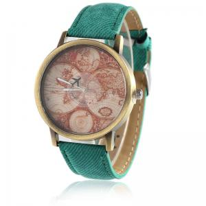 World Map Airplane Faux Leather Strap Watch - Green - 38