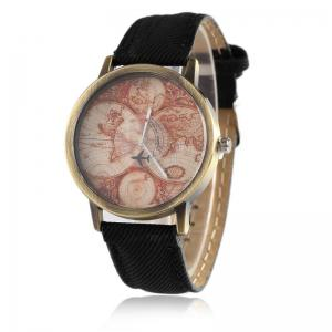 World Map Airplane Faux Leather Strap Watch