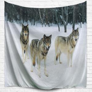 Wall Art Hanging Snowfield Wolf Fabric Tapestry