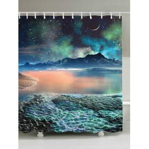 Lake Star Moon Mountain Waterproof Shower Curtain - Light Blue - W71 Inch * L79 Inch