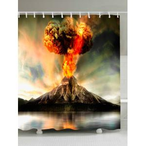 Volcano Erupting Waterproof Fabric Shower Curtain - Colorful - W71 Inch * L79 Inch