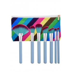 Makeup Brushes Set With Stripe Bag - Light Blue