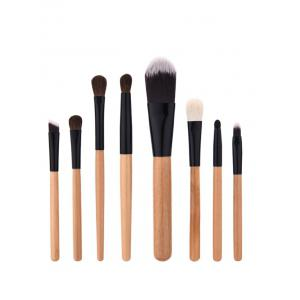 8Pcs Wooded Handle Nylon Makeup Brushes Set