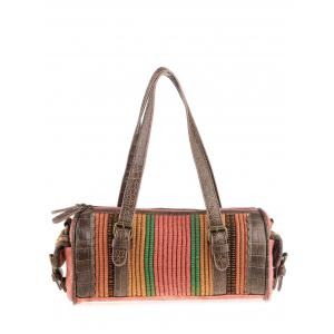 Ethnic Canvas Cylinder Shaped Tote Bag - Watermelon Red - 38