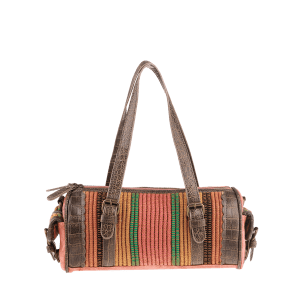 Ethnic Canvas Cylinder Shaped Tote Bag - WATERMELON RED