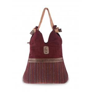 Ethnic Linen Large Shoulder Bag - Wine Red