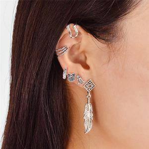 Alloy Owl Feather Cartilage Earring Set