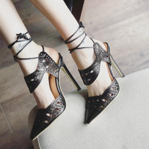 Hollow Out Tie Up Stiletto Heel Sandals -