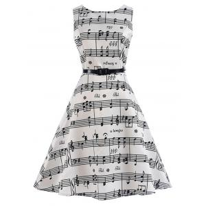 Music Note Print Party Swing Dress - White - M
