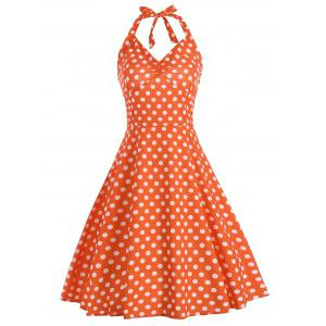 Lace Up Polka Dot Halter Party Dress - Orange - 2xl