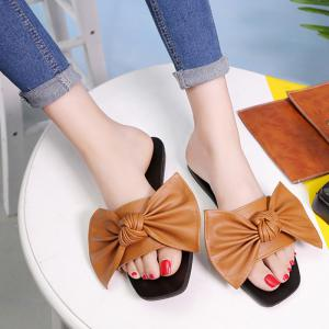Bowknot Flat Heel Faux Leather Slippers - Brown - 38