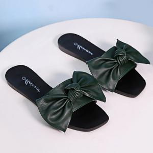 Bowknot Flat Heel Faux Leather Slippers - Blackish Green - 38