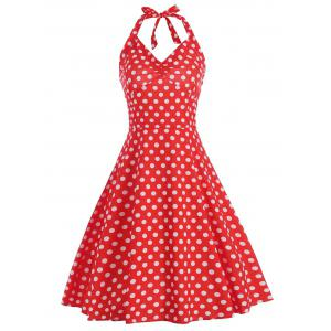 Lace Up Polka Dot Halter Party Dress - Red - S