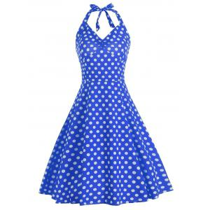 Lace Up Polka Dot Halter Party Dress