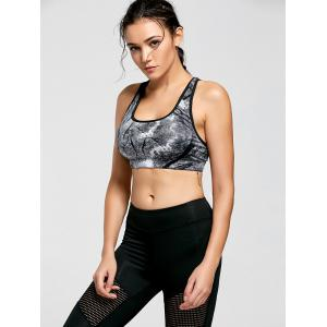Ink Painting Padded Sports Bra - CHROME M