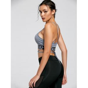 Backless Strappy Wrap Crop Tank Top - LIGHT GREY S