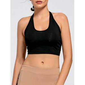 Sports Crop Halter Top - Black - S