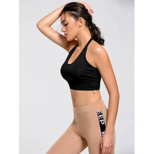 Sports Crop Halter Top - BLACK M