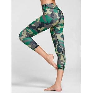 High Rise Camouflage Print Fitness Leggings - Green - Xl