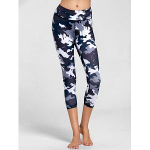 High Rise Camouflage Print Fitness Leggings - Black - S